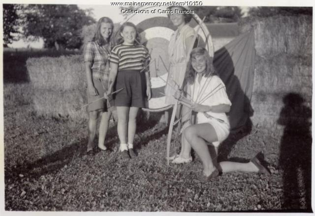Archery at Camp Runoia, Belgrade Lakes, 1947