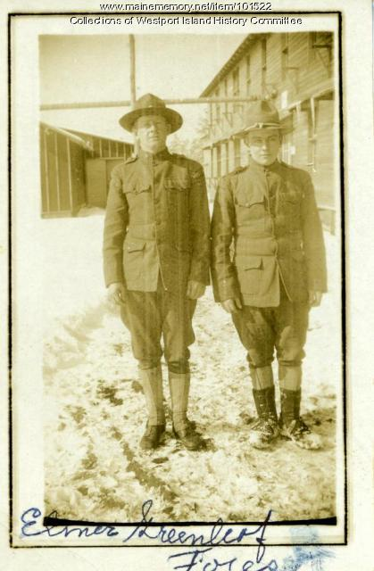 Private Elmer Greenleaf and Forest Lewis, Fort Devens, ca. 1918