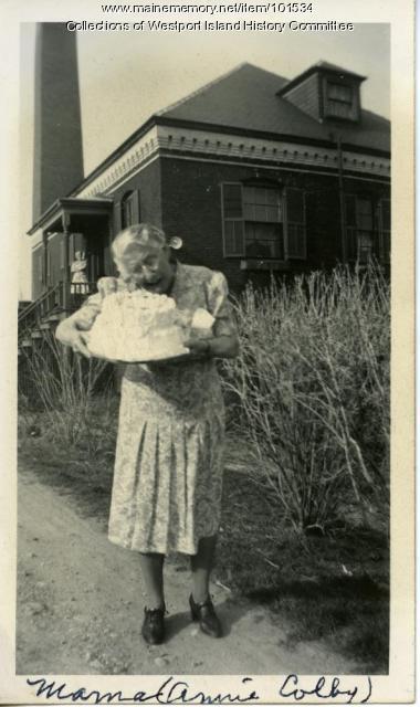 Annie May Colby celebrating, Westport, 1944