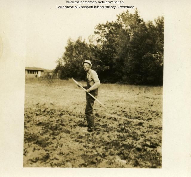 Hoeing on Westport Island, ca. 1935
