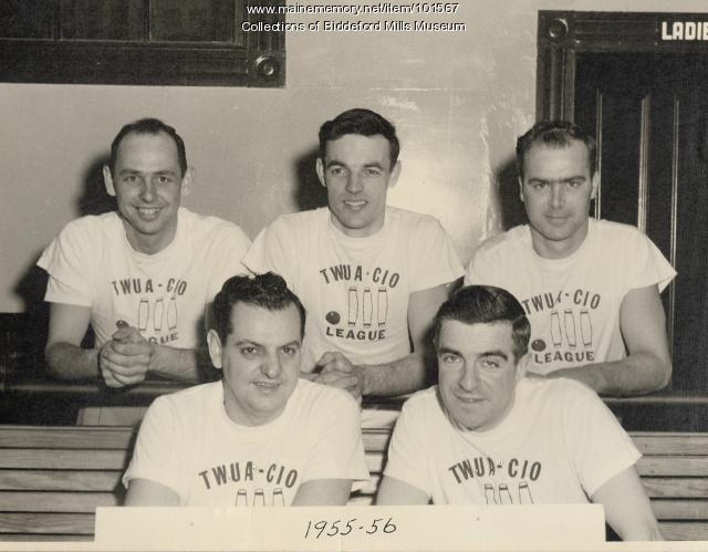 Union candlepin bowling men's league, Biddeford, ca. 1955