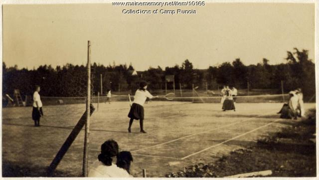 Tennis match at Camp Runoia, 1910