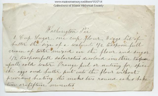 Washington pie recipe, ca. 1875