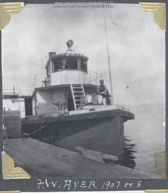 "Steamboat ""F.W. Ayer"", Norcross wharf, ca. 1907"