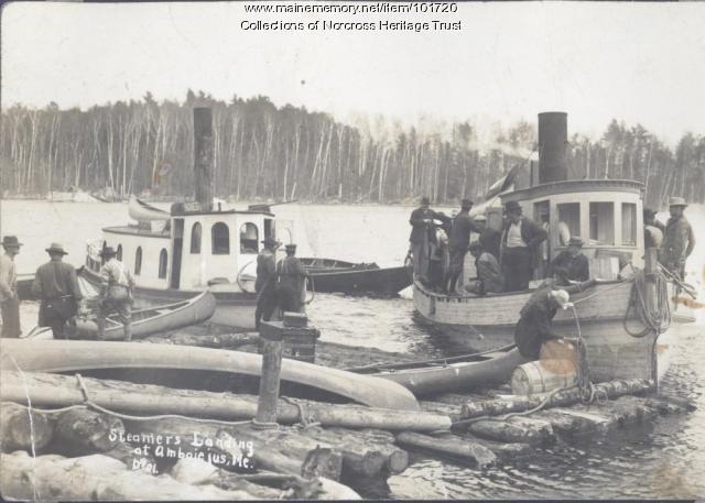 Steamers unloading passengers, Ambajejus Lake, ca. 1905