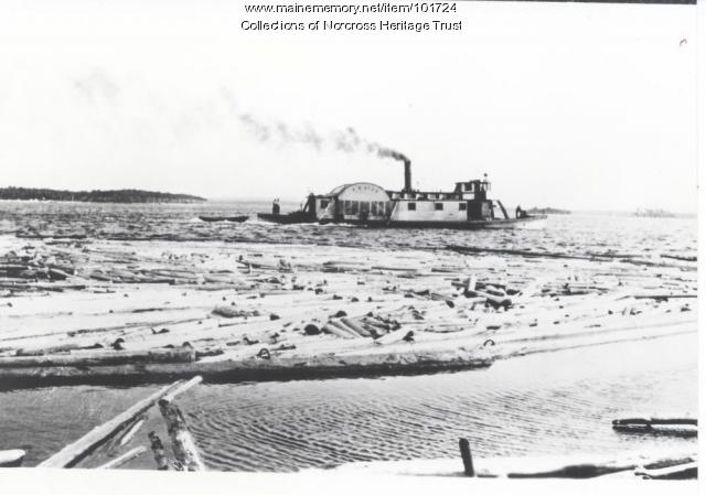"Side-wheeler ""F. W. Ayer"" rolling a boom, Pemadumcook Lakes, ca. 1910"