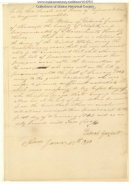 Deborah Gannett petition for increase of pension, 1820