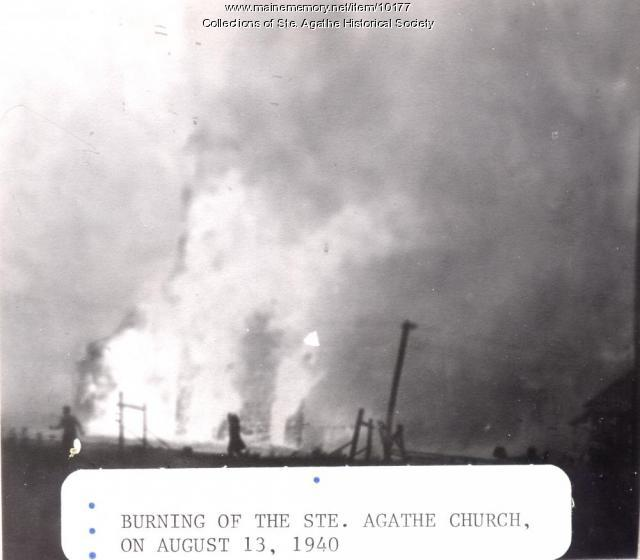 Burning of St. Agatha Catholic Church, St. Agatha, 1940