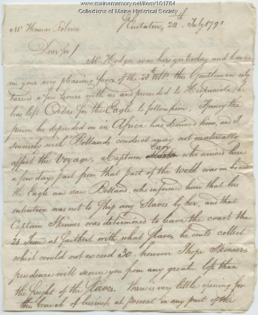 Thomas Reed to Thomas Robison regarding the Caribbean economy and slave market, Sint Eustatius, 1791