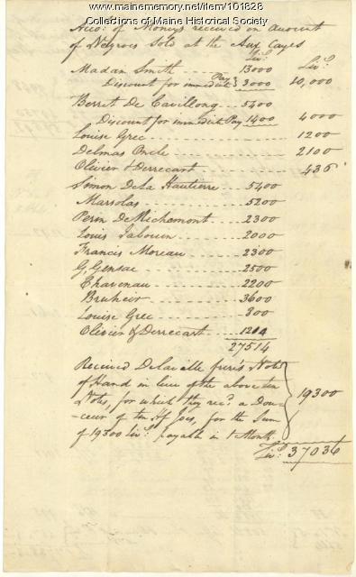 Cargo of Ship Eagle, 1791