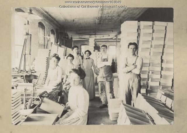 Shoe boxes at the Cummings Factory, South Berwick, ca. 1900.