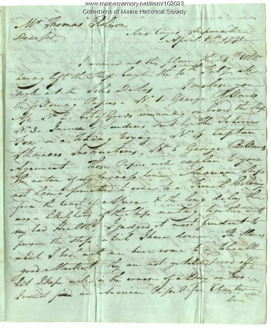 Thomas Robison from Thomas Hodges regarding illegal slave trade, Les Cayes, April 6, 1791