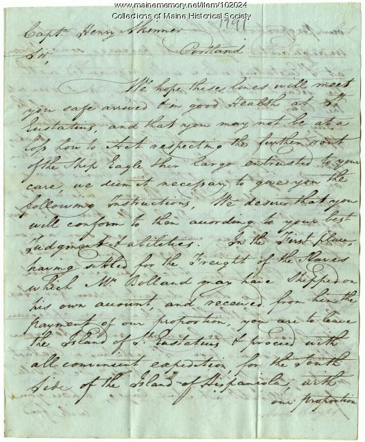 Letter from Thomas Hodges to Captain Henry Skinner, Portland, 1791