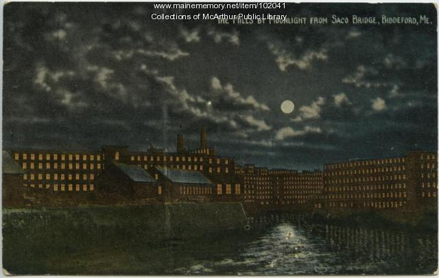 Night view of textile mills and river, Biddeford and Saco, ca. 1910