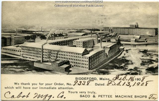 Saco and Pettee Machine Shops order acknowledgement, Biddeford, 1908