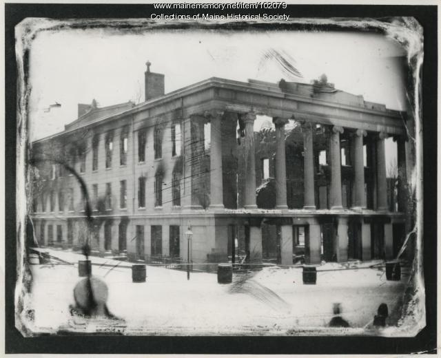 Ruins of the Merchant Exchange / U.S. Custom House, Portland, 1857