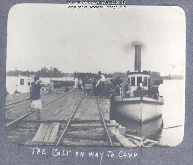 "Loading steamer ""Rainbow"", Norcross wharf, ca. 1910"