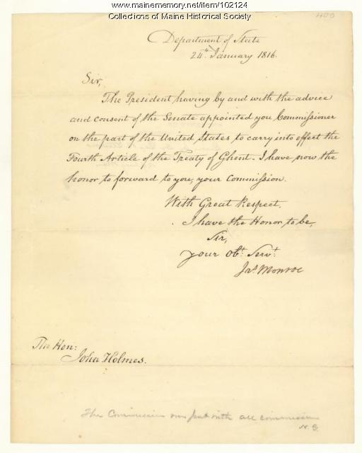 James Monroe to John Holmes regarding the Treaty of Ghent, 1816