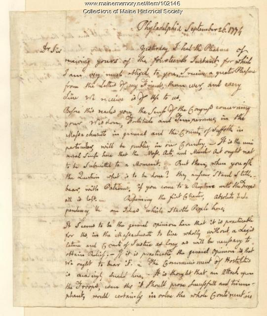 John Adams to Joseph Palmer on absolute independence from Britain, Philadelphia, 1774