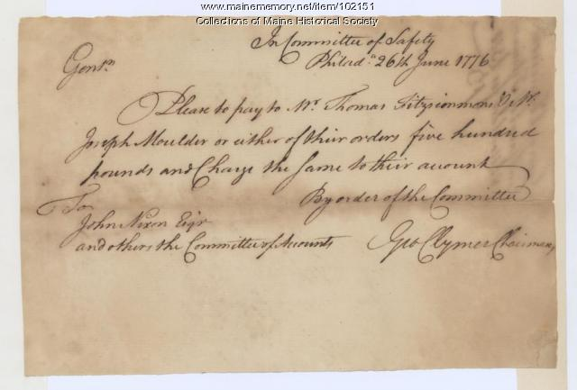 George Clymer money withdrawal request, Philadelphia, 1776