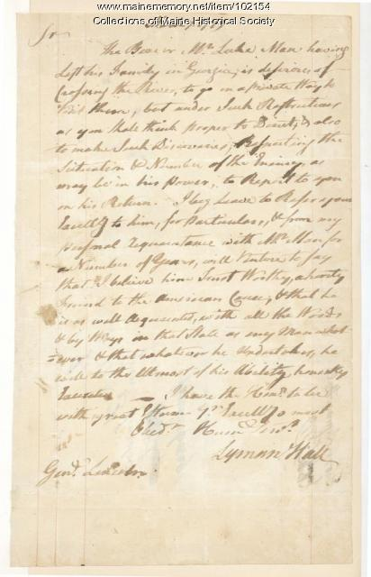 Lyman Hall special request to Benjamin Lincoln, 1779