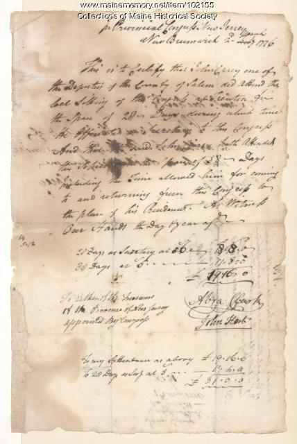 John Hart on Congressional meeting minutes, New Jersey, 1776