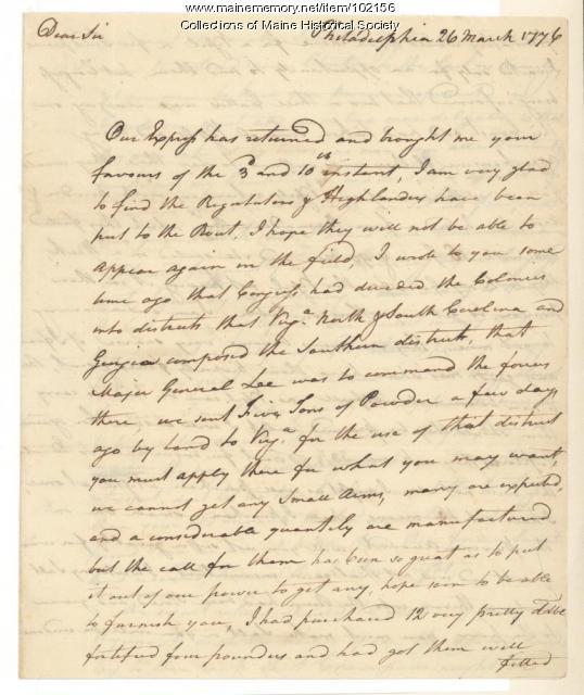 Joseph Hewes on Revolutionary War intellegence, Philadelphia, 1776