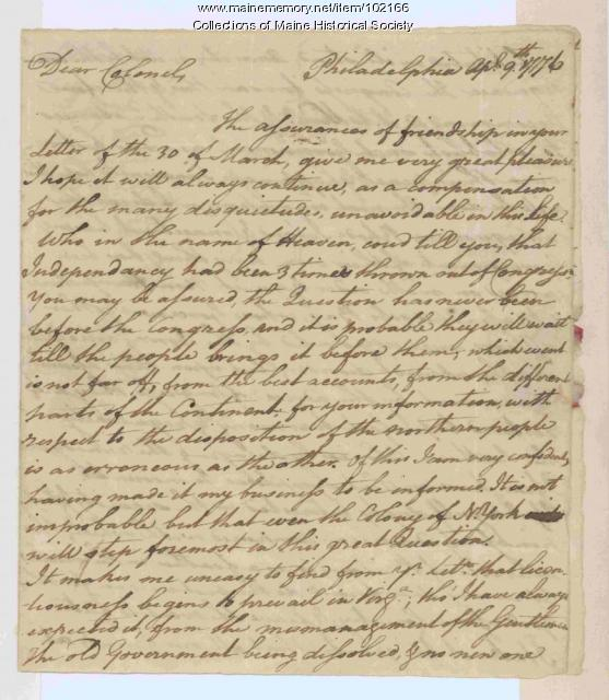 Francis Lightfoot Lee discussing indepedence in Congress, Philadelphia, 1776