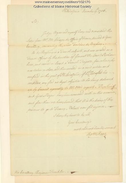Thomas McKean to Benjamin Franklin regarding Fontaine de Brassine, Philadelphia, 1786