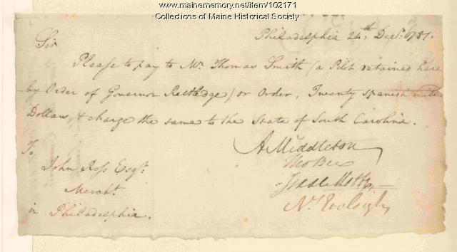 Arthur Middleton requesting money withdrawal from John Ross, Philadelphia, 1781