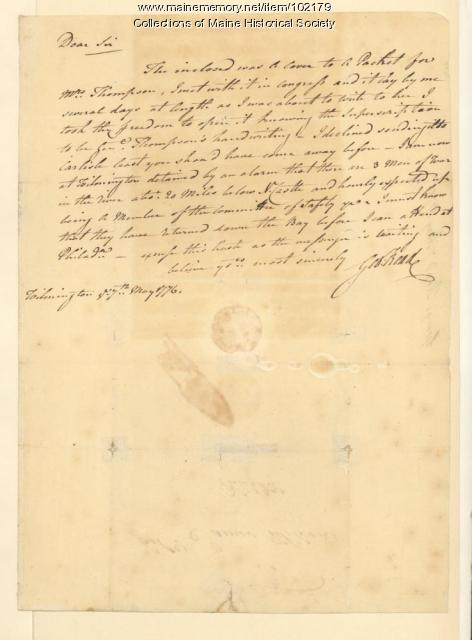 George Read on his detainment, Delaware, 1776