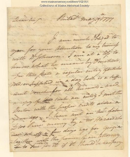 Benjamin Rush on monetary transactions, Philadelphia, 1777