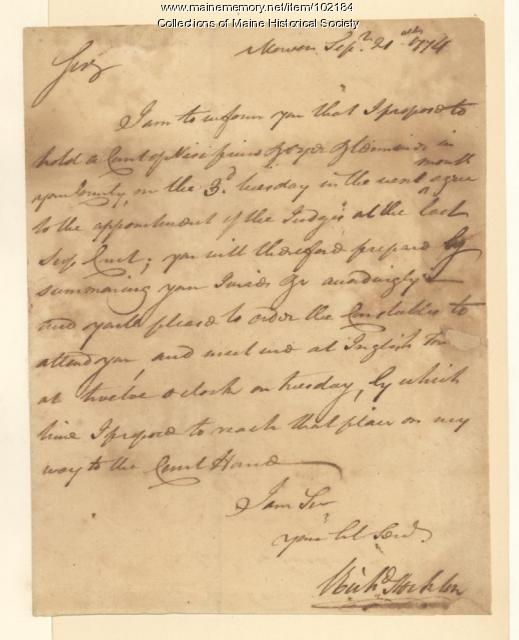 Richard Stockton regarding details of a court case, New Jersey, 1774