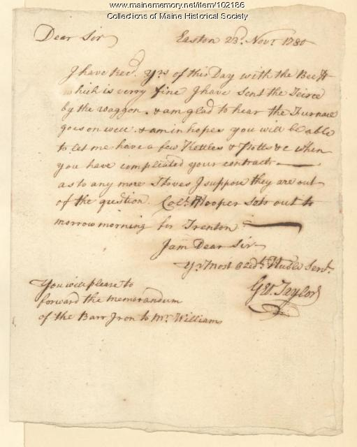 George Taylor requesting kitchen supplies from ironworks, Pennsylvania, 1780