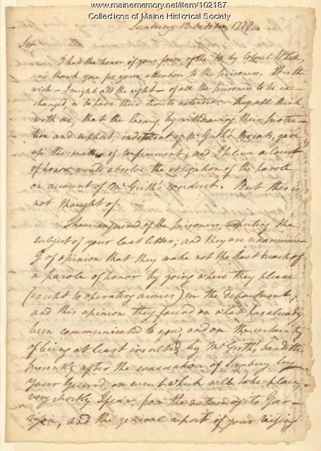 George Walton on the state of the war prisoners to General Lincoln, Georgia, 1779