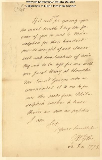 George Wythe requesting seeds from Philadelphia, 1773