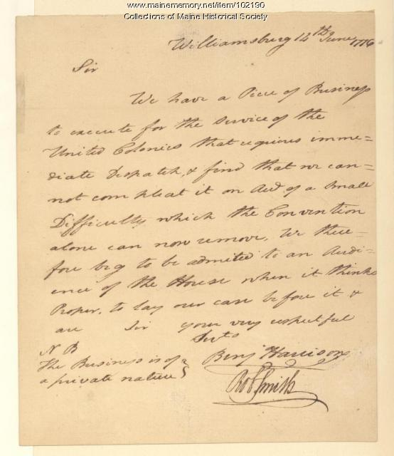 Benjamin Harrison requesting an audience of the House, Williamsburg, 1776