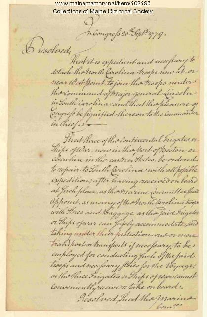 Resolution in Congress by Charles Thomson, 1779