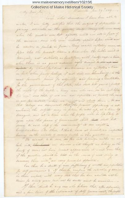 Abijah Smith to John Chandler regarding Maine statehood, Waterville, 1819