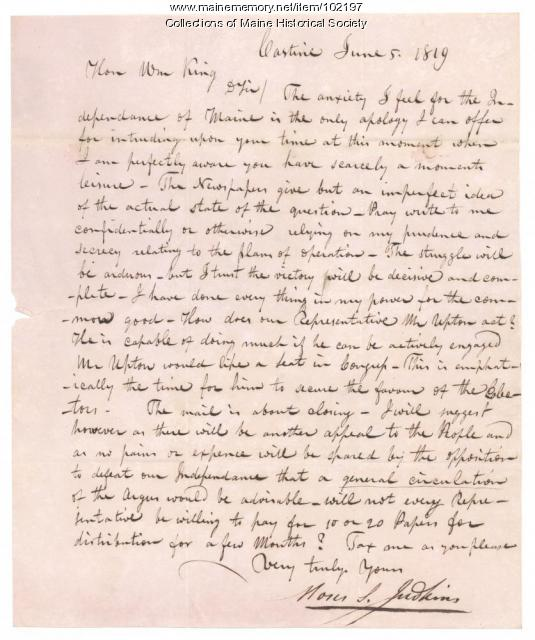 Moses S. Judkins to William King regarding Maine statehood, Castine, 1819