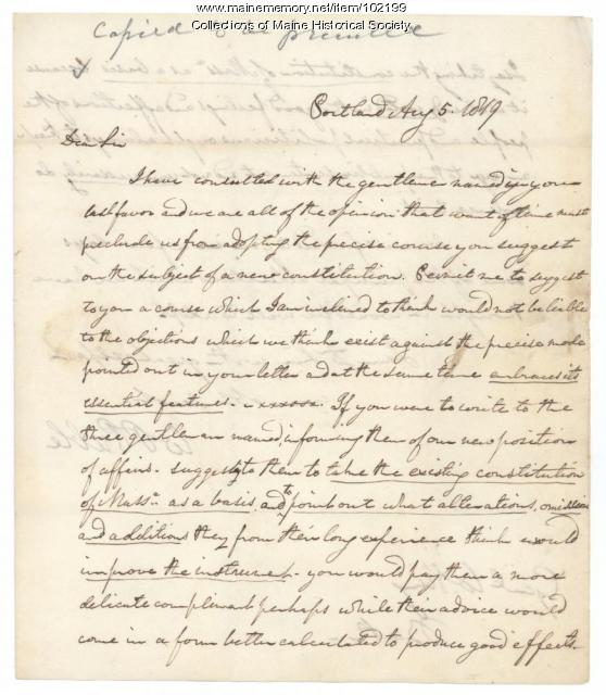 William Pitt Preble to William King regarding Maine constitution, Portland, 1819