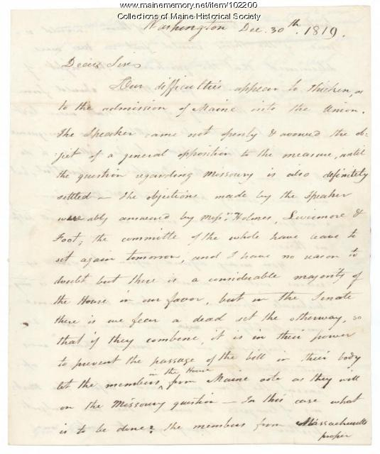 Mark Hill to William King regarding Maine's admission to the Union, Washington, DC, 1819