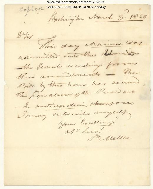 Prentiss Mellen annouces Maine statehood to William King, Washington, D.C., 1820