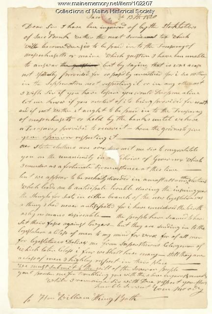 William Moody to William King regarding issues surrounding new statehood, Saco, 1820