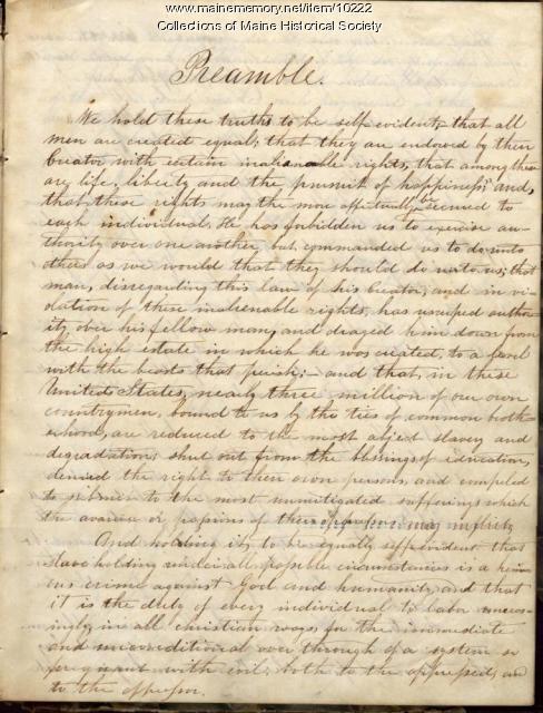 Minutes, Portland Anti-Slavery Society, 1844-1846, 1850-1851