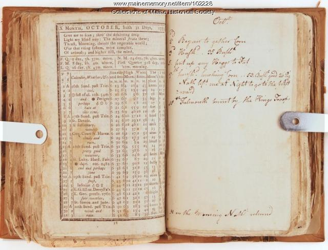 """Falmouth burnt by the Kings troops"" journal entry, Falmouth Neck, 1775"