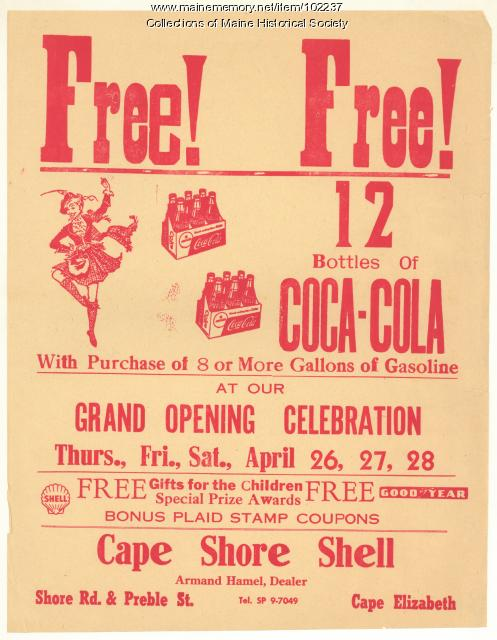 Cape Shore Shell advertisment, Cape Elizabeth, ca. 1962