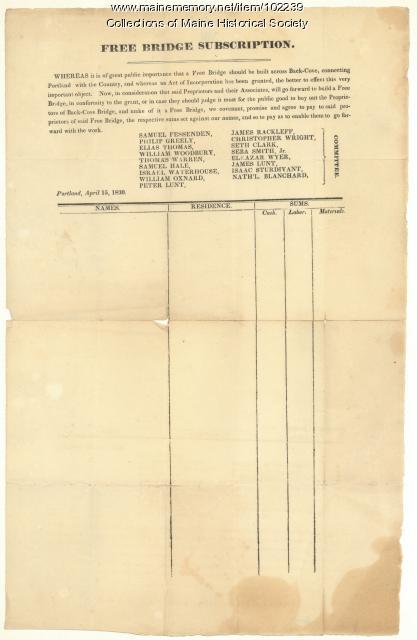 Back Cove bridge subscription form, Portland, 1830