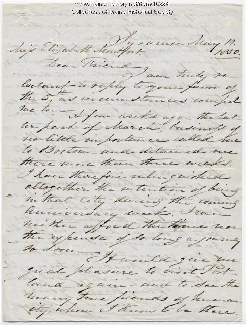 Letter from Samuel J. May to Elizabeth Mountfort, May 10, 1850