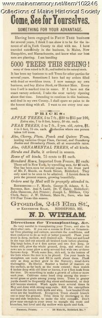 Advertisement for the sale of fruit trees and flowers, Biddeford, ca. 1875